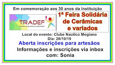 TRADEF Feira solidaria de cerâmicas e variados artesanatos