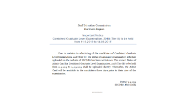 Important Notice- Combined Graduate Level Examination, 2018 (Tier-II) to be held  from 11.9.2019 to 14.09.2019