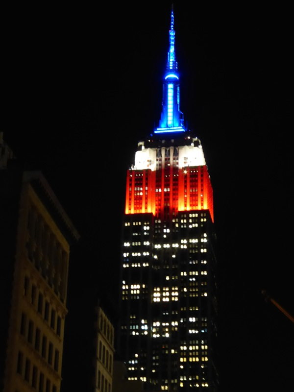 Patriotic red white blue Empire State Building NYC