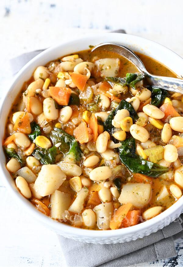 a bowl of cozy vegetarian white bean soup