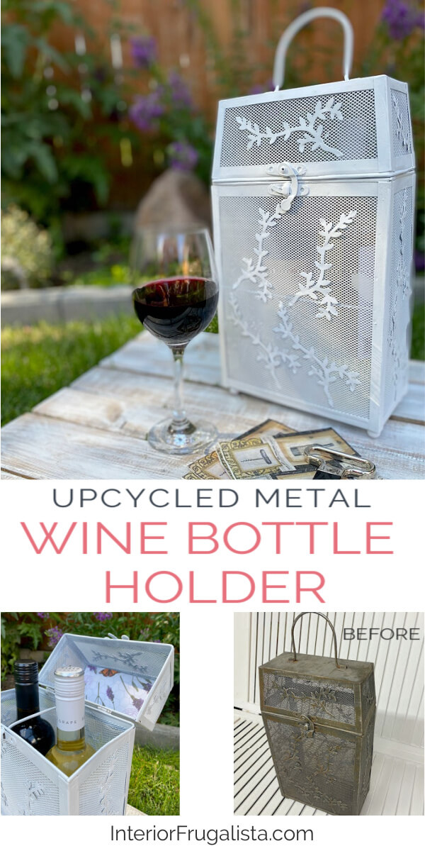 A thrift store Vintage Wood Rattan and a Metal Wine Bottle Carrier get one-of-a-kind makeovers for summer for two budget-friendly hostess gift ideas. #winetote #giftforwinelovers