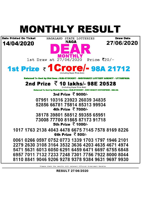 Lottery Sambad Naga Dear Monthly Lottery Results 14.04.2020