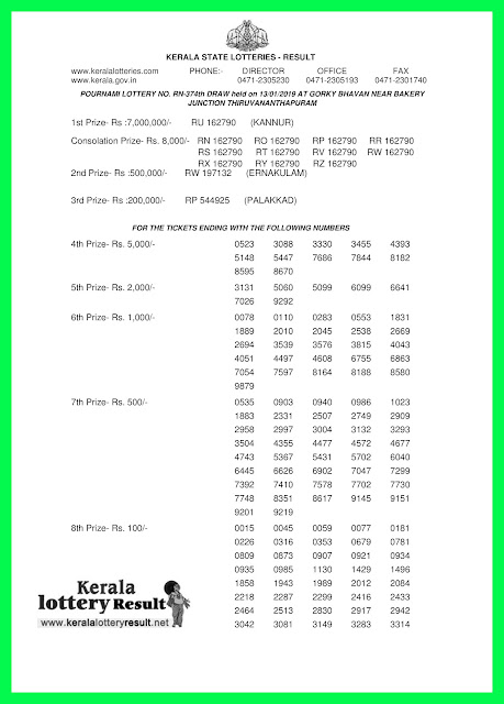 13-01-2019 POURNAMI Lottery RN-374 Results Today - kerala lottery result