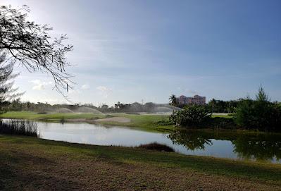 Reflective pond surrounding golf course