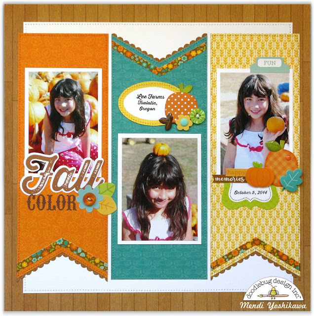 Doodlebug Flea Market Fall Layout by Mendi Yoshikawa (using Sunny Studio Fishtail Banner Dies)