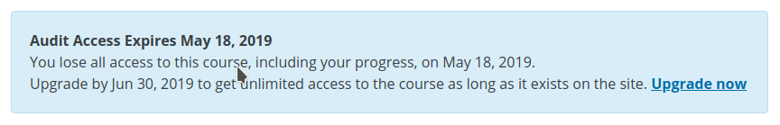 Screenshot from an edX course page mentioning the course's expiry date