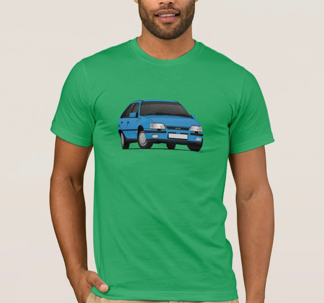 Blue Vauxhall Astra GTE mk2 - car T-shirt