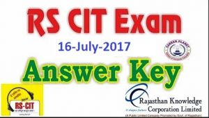 RSCIT 16 July 2017 Exam Paper With Answer Key