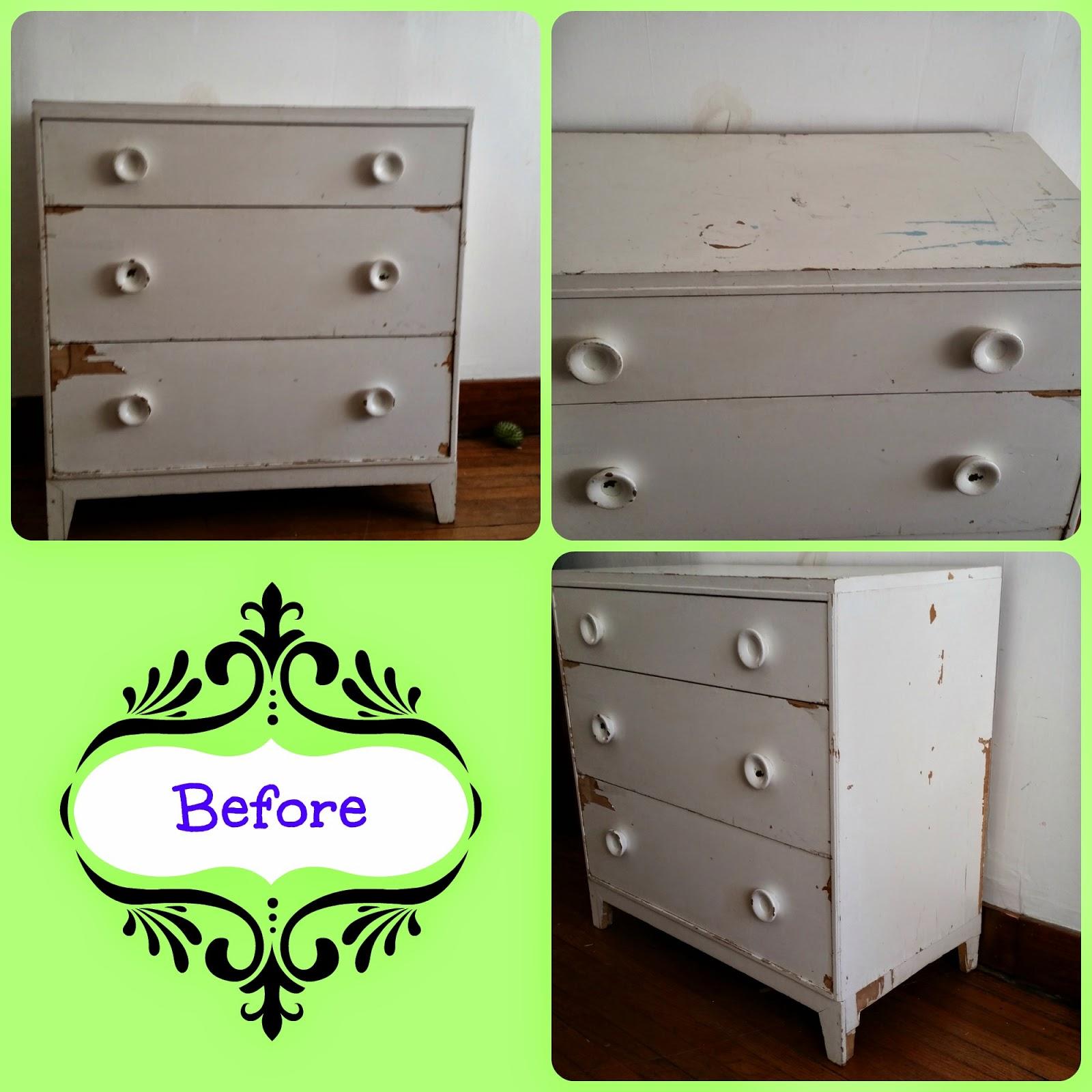 ugly white dresser, cheap refurbishing