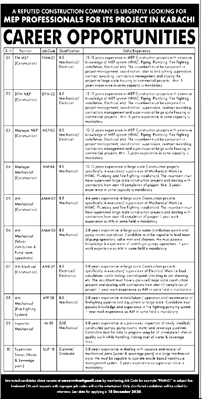 Reputed Construction Company Jobs 2020 for MEP Professionals in Karachi Project Posts Latest
