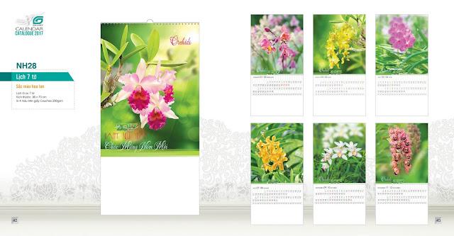 NH28 - Sac mau hoa lan, Lịch treo tường 7 tờ, in lịch, mẫu lịch hoa
