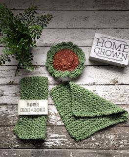 Handmade Cotton Sage Green Dish Cloths