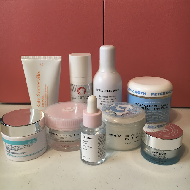 M-61 SuperSoothe E Cream, Kate Somerville ExfoliKate, Glossier Priming Moisturizer Rich, Glossier Super Pure Serum, Glossier The Supers, First Aid Beauty Anti-Redness Serum, J.One Jelly Pack, Korean Skincare, Glossier Moisturizing Moon Mask, Peter Thomas Roth Clinical Skin Care Max Complexion Correction Pads, IT Cosmetics Bye Bye Under Eye Cream, skincare regimen