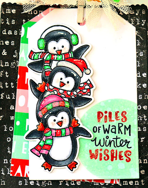 Piles of Warm Winter Wishes by Larissa Heskett for Newton's Nook Designs using Penguin Piles, Bokeh Stencil, Fancy Edges Tags Die #newtonsnook #newtonsnookdesigns #penguinpile
