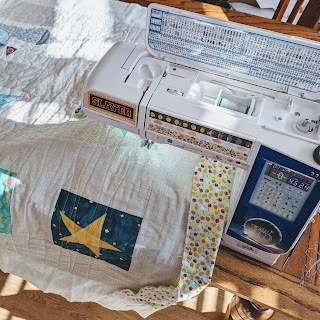 quilt being quilted on an Elna sewing machine