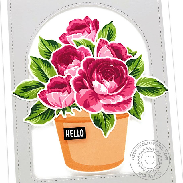 Sunny Studio Stamps: Potted Rose Everything's Rosy Frilly Frame Dies Stitched Arch Dies Friendship Card by Anja Bytyqi