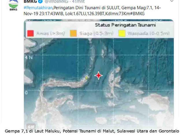 Gempa 7,1 di Laut Maluku, Potensi Tsunami di Malut, Sulawesi Utara dan Gorontalo