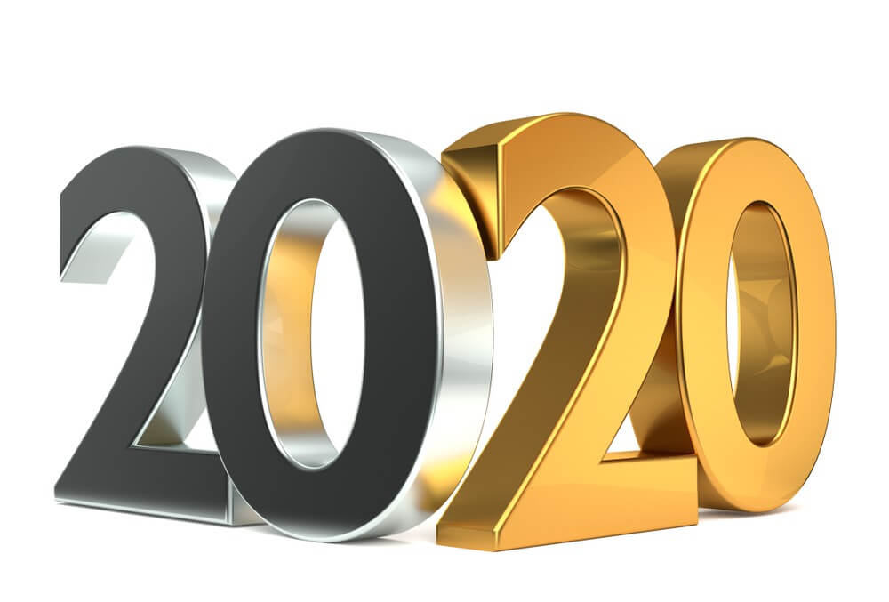 Happy 2020 New Year, Gold, 3D
