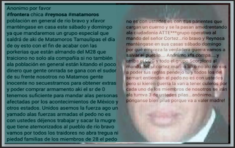 PRESUNTO MENSAJE DE CDG MATAMOROS AMENAZA A LA MARINA Y ADVIERTE INCURSIONES EN RIÓ BRAVO ..