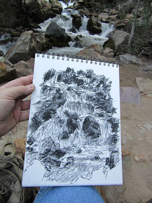 art charcoal sketch creek big cottonwood wasatch utah