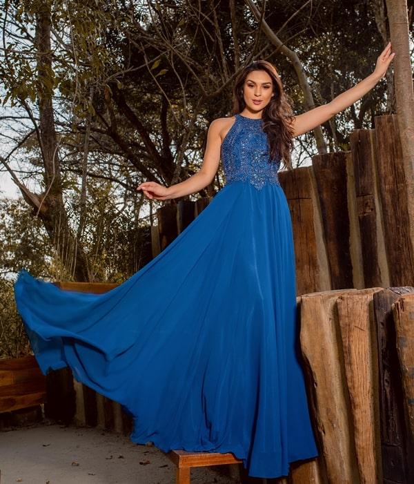 vestido de festa longo azul classic blue