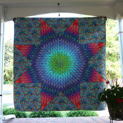 Dragonfruit Starburst Quilt designed by Tula Pink for FreeSpirit Fabrics, Featurimg Monkey Wrench Collection