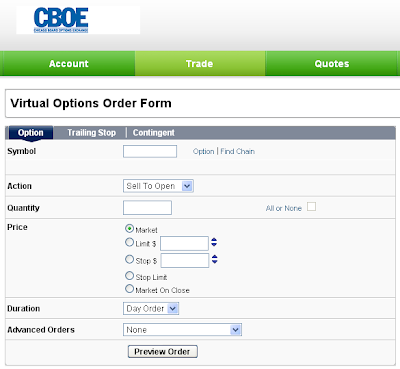 CBOE Options simulator