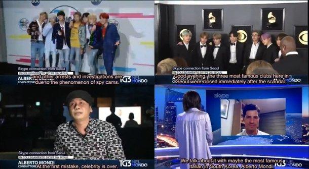 İtalya'da bir program YG skandallarından bahsederken BTS'in fotoğrafını kullandı