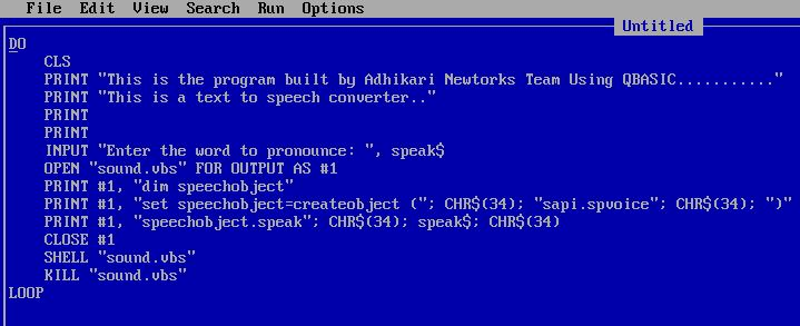 How To Make Text To Speech Converter Using QBASIC