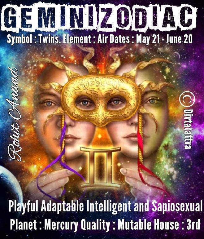 Gemini zodiac personality analysis, Mithun Rashi men & women nature and characteristics and Gemini horoscope online