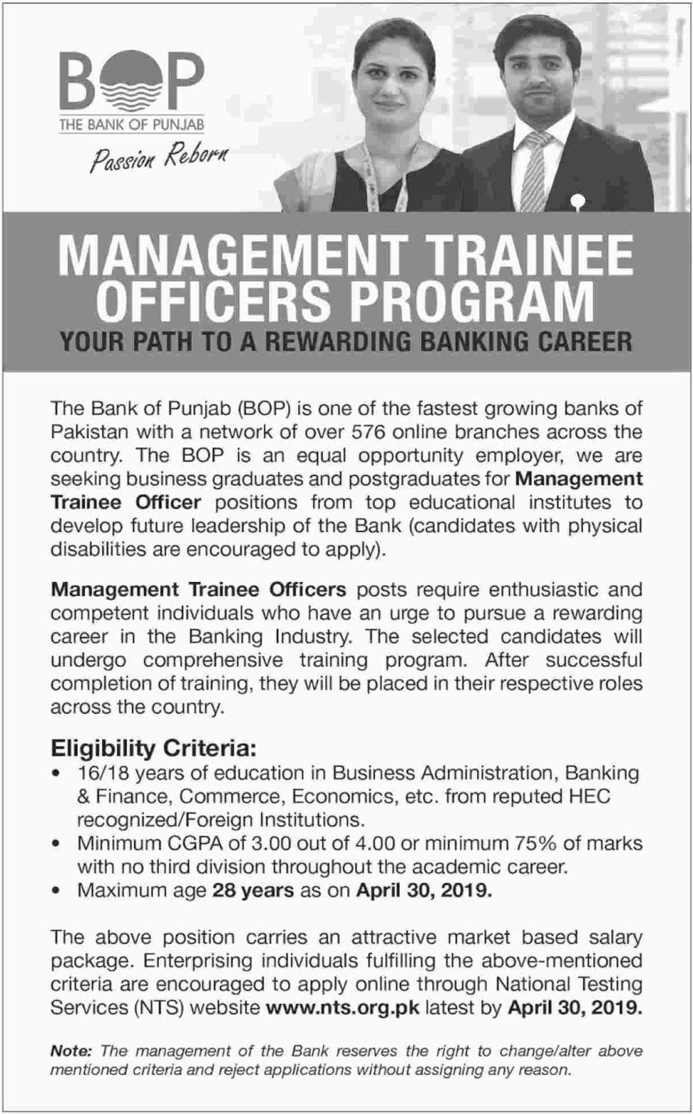 Bank of Punjab BOP Jobs 2019 For Management Trainee Officers Program