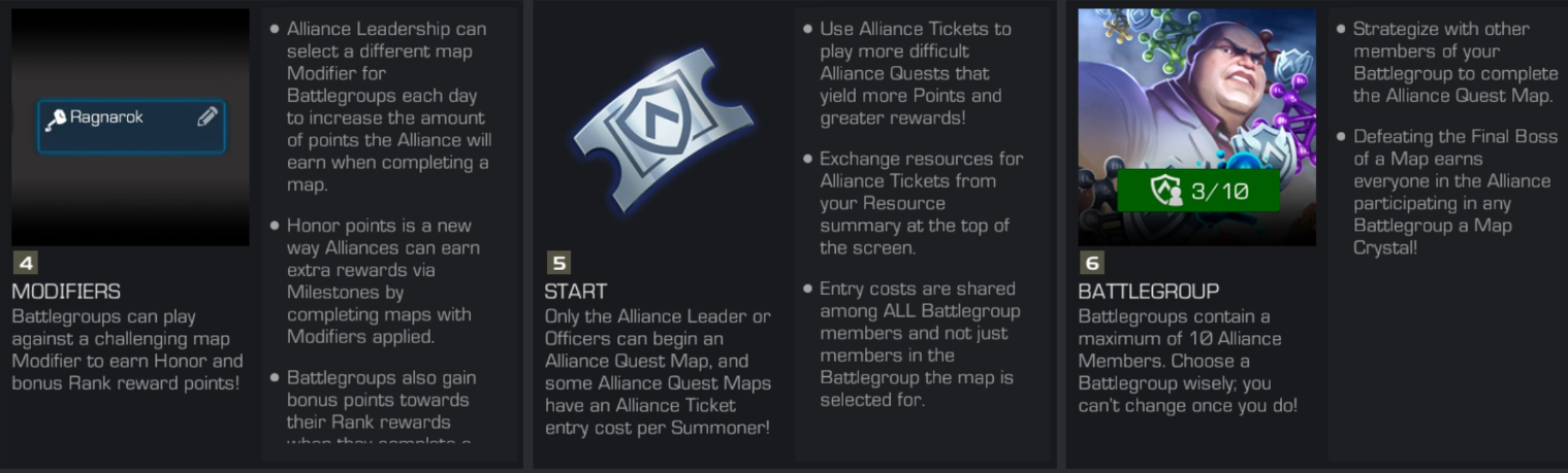 MCOC AQ Map Modifiers, Alliance Tickets and Battlegroup