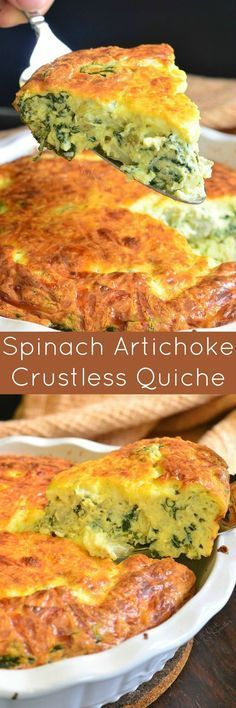 Spinach Artichoke Crustless Quiche