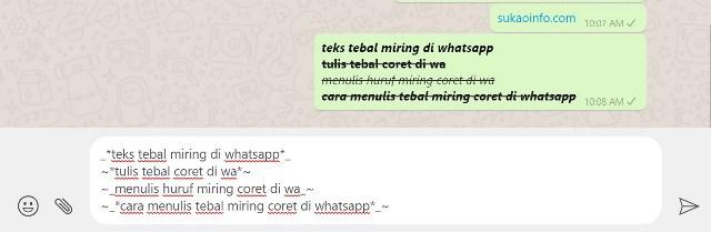 cara membuat huruf tebal miring coret di whatsapp