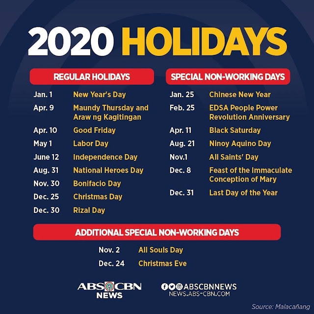 Philippine Holidays Philippine Holidays 2020 Proclamation No 845 S 2019