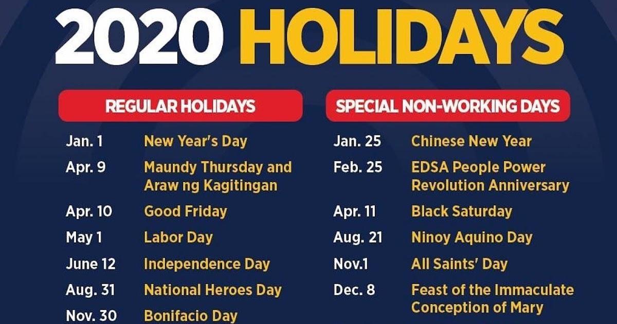 Philippine Holidays: Philippine Holidays 2020 (Proclamation No. 845. S. 2019)