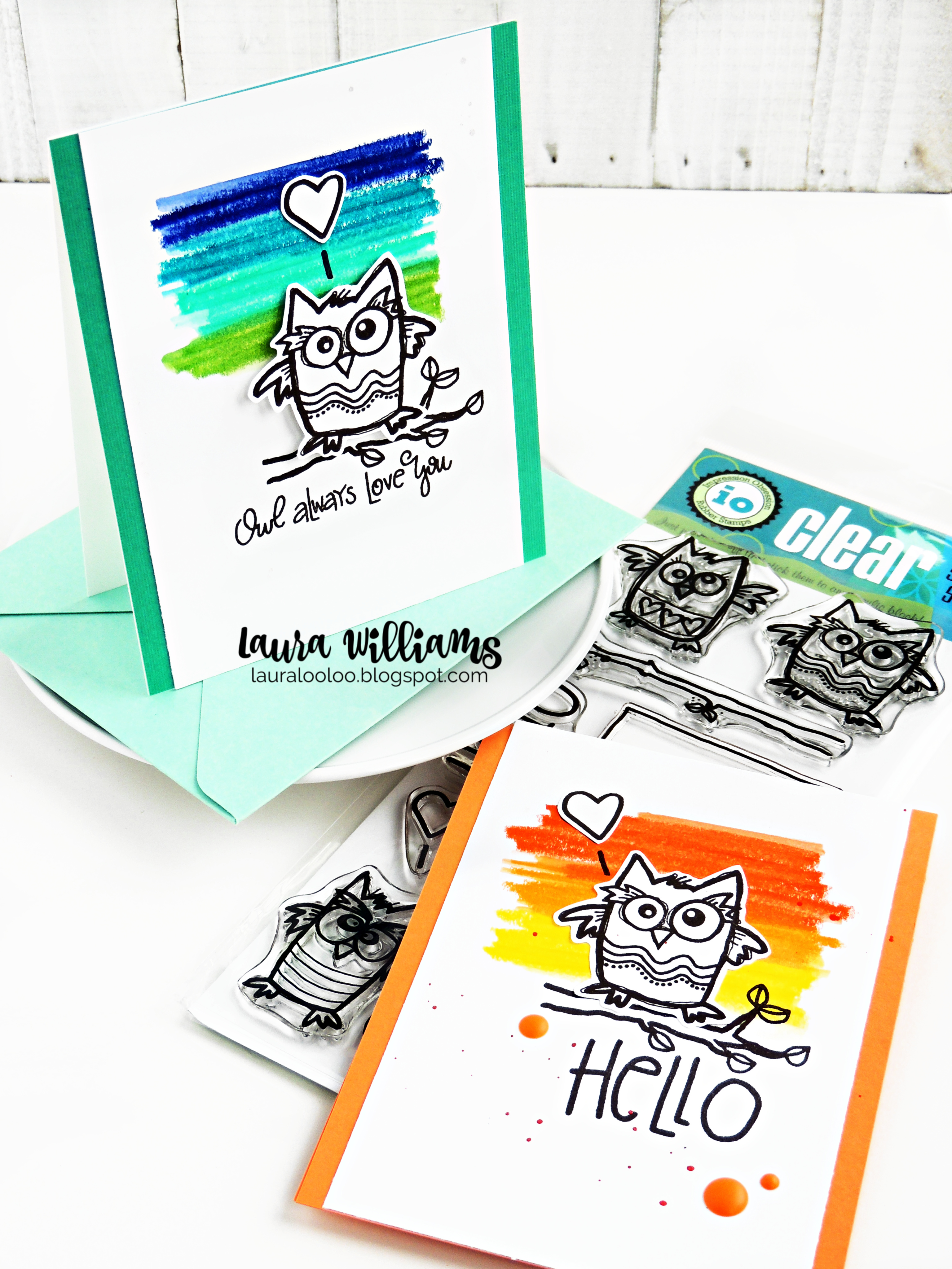 Clean and simple owl cards with black ink, but bright scribbled colors - fun technique for Jane Davenport Colorsticks, Gelatos, or even crayons! #cardmaking #stamping #iostamps #lauralooloo