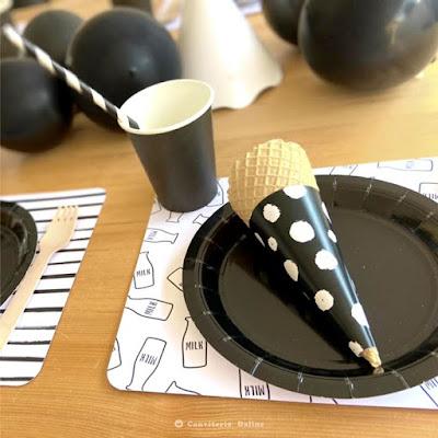 festa preto branco jogo americano papel
