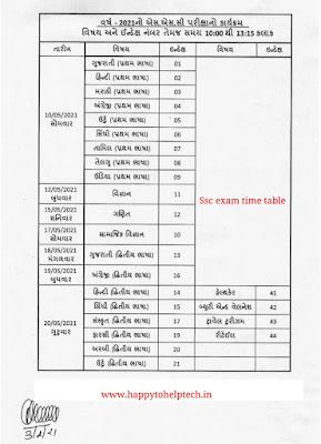 Gujarat Board Exam 2021 Time Table