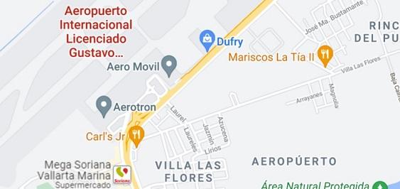 Mapa de Aeropuerto Internacional en Puerto Vallarta.