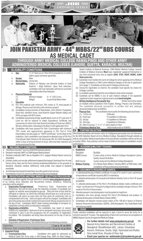 JOIN ARMY MEDICAL COLLEGE FOR MBBS/ BDS - Apply Online for 4th MBS