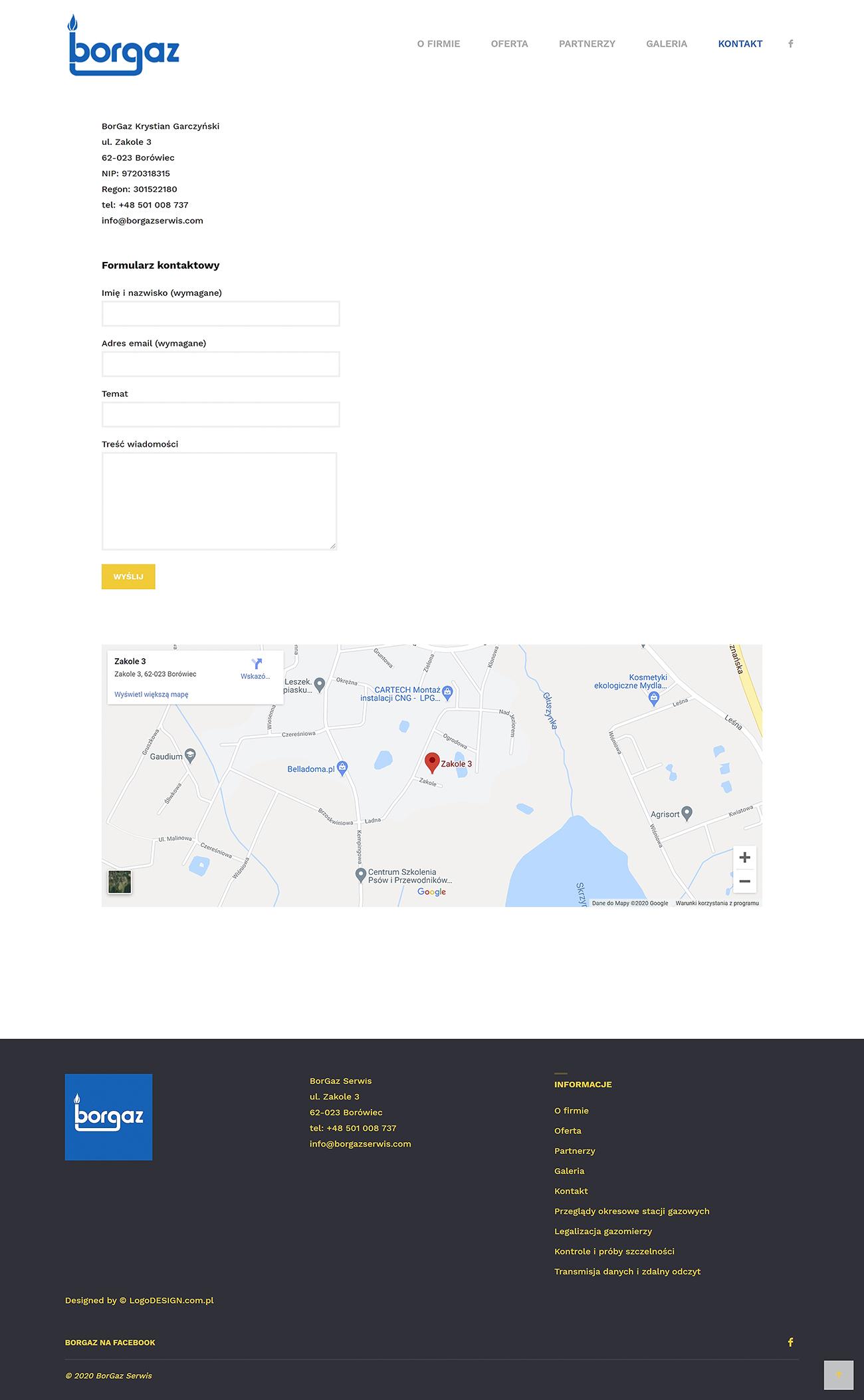 Projekt witryny internetowej serwisu gazowego BorgazSerwis.com
