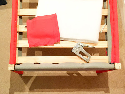 DIY upholstery for bed frame foot board using foam and fabric