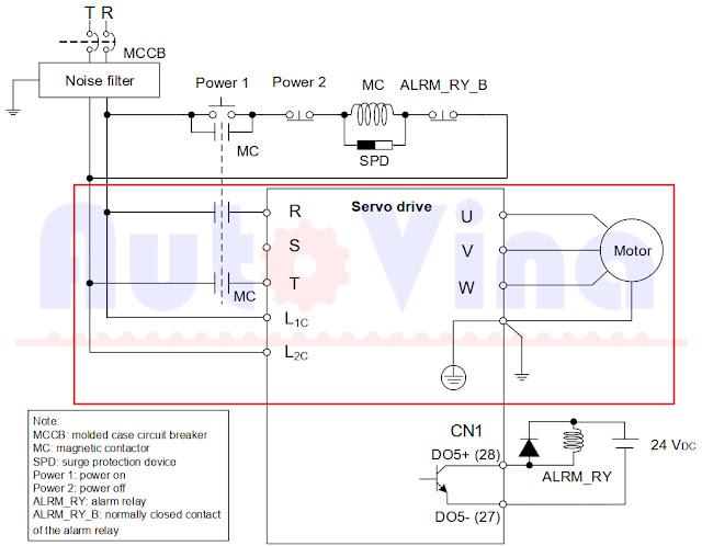 Sơ đồ đấu nối Servo Delta ASD-B3-0421-L 1P 220V