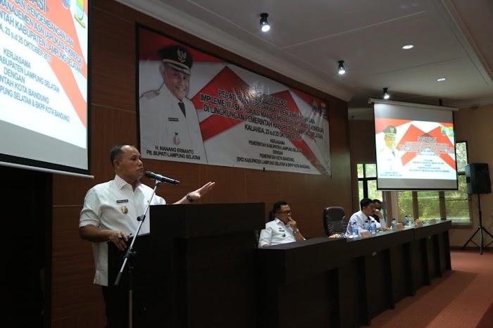 Plt.Nanang Ermanto,Buka Sosialisasi Aplikasi E-Kinerja ASN Pemkab Lamsel Dengan Pemkot Bandung