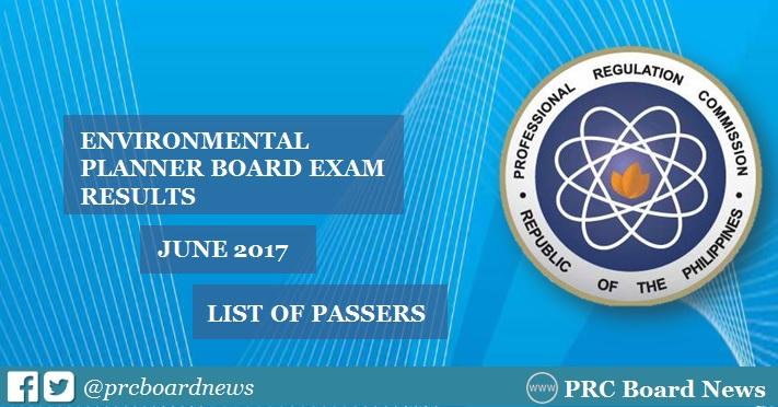 June 2017 Environmental Planner board exam results