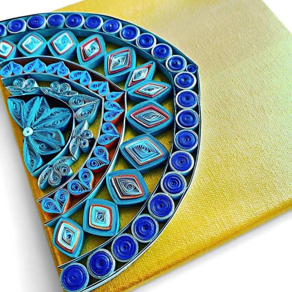 quilled semi-circle mandala on canvas