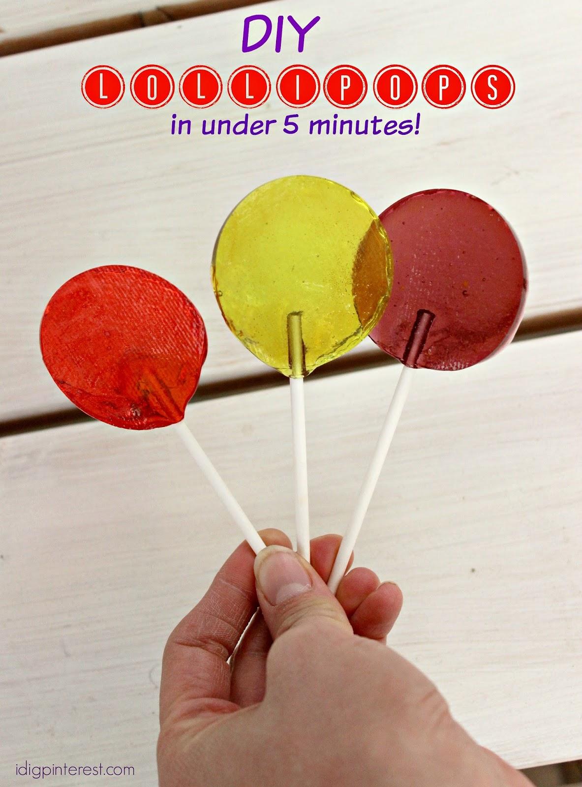 Diy Lollipops In Under 5 Minutes I Dig Pinterest