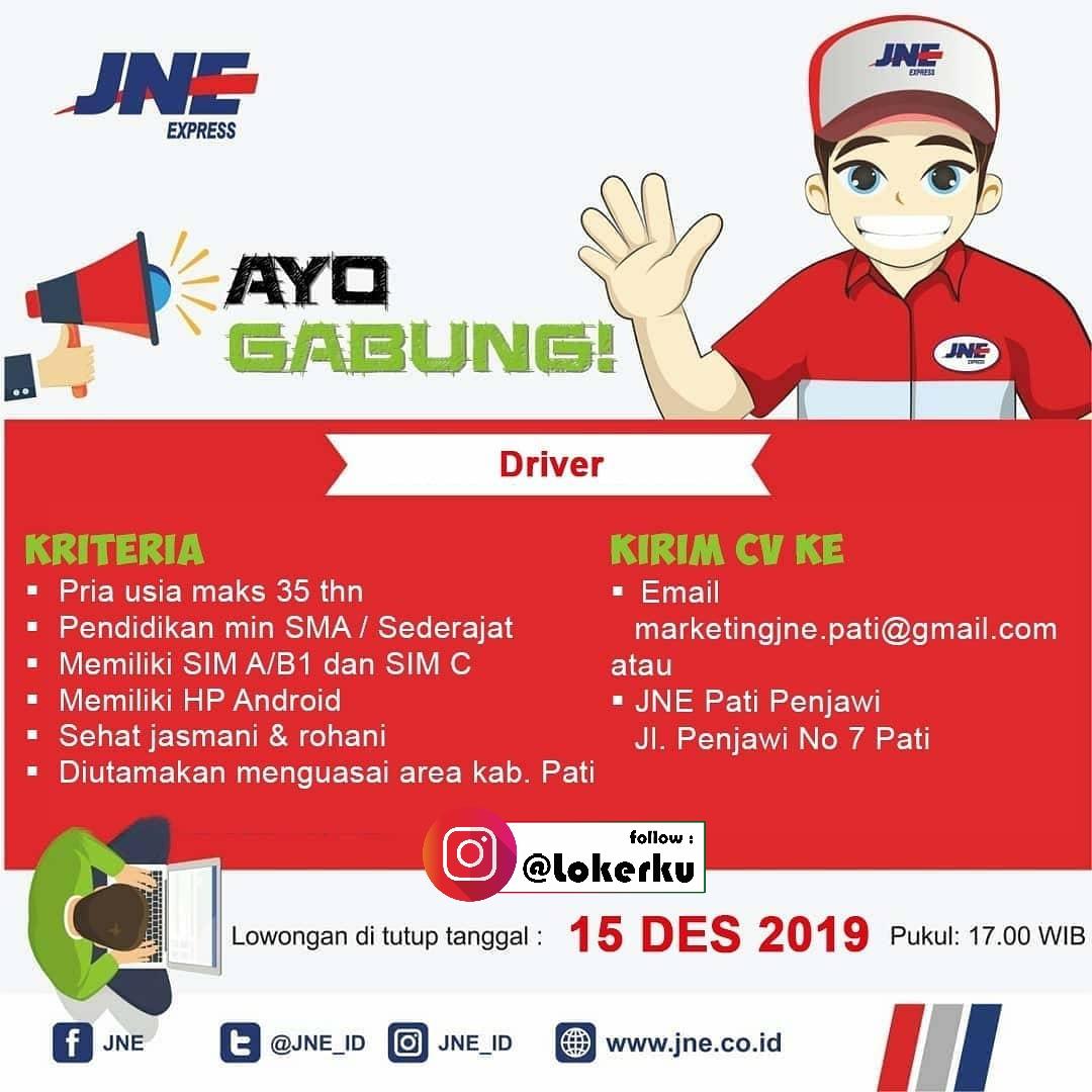 Loker JNE Pati membuka kesempatan bagi kalian yang ingin bergabung menjadi keluarga besar JNE dengan posisi Rider, Driver, Staff Admin, & Courier Pickup