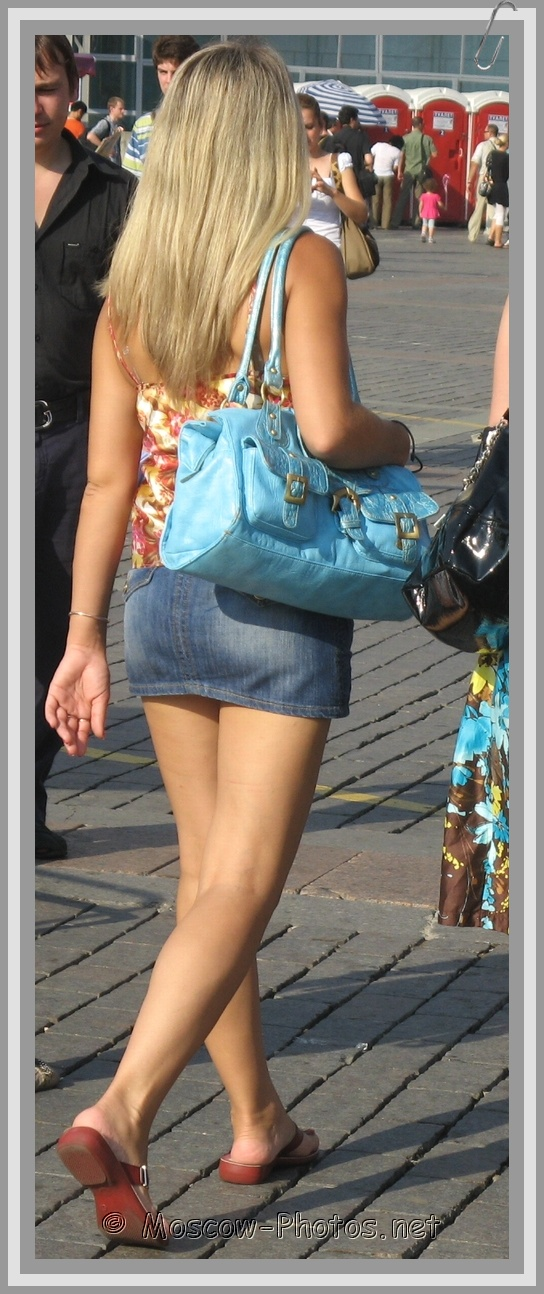 Moscow Girls in Jean Miniskirt